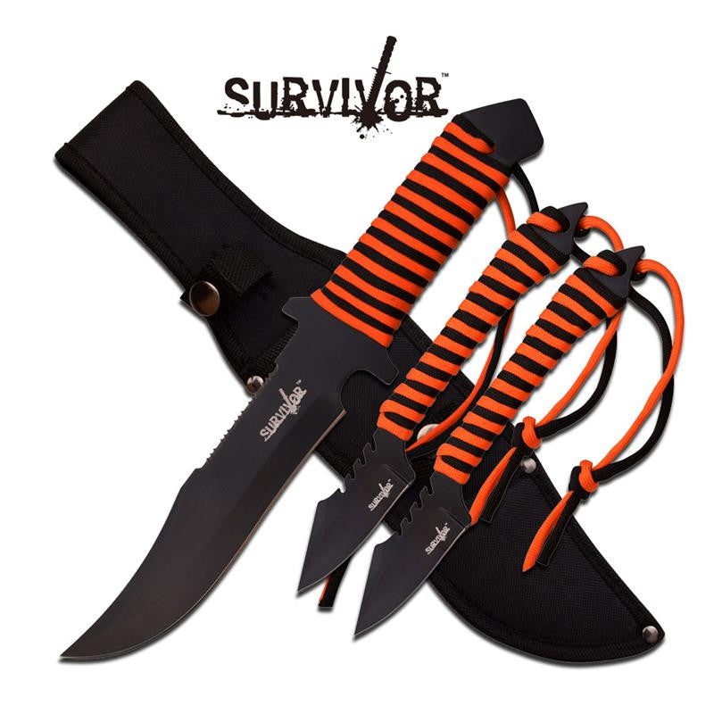 Survivor 12 Inch and 7.5 Inch Overall 3 Piece Fixed Blade Survival Knife Set