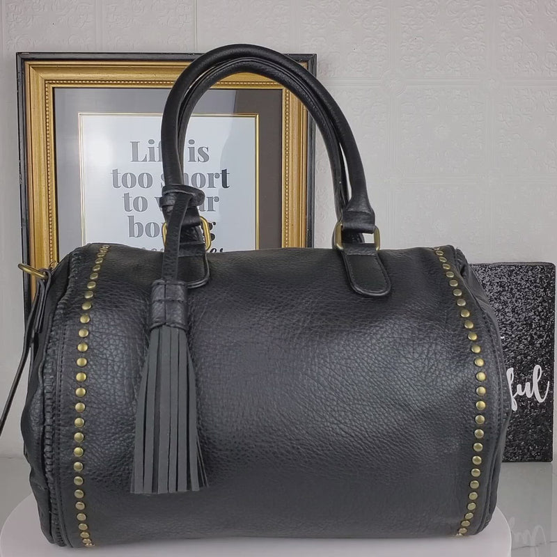 Black boston bag handbag with studded accents video