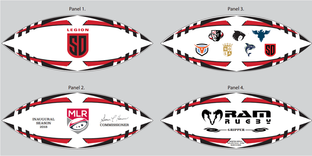 San Diego Legion Gripper Pro Training Ball by Ram Rugby - RamRugbyUSA.com