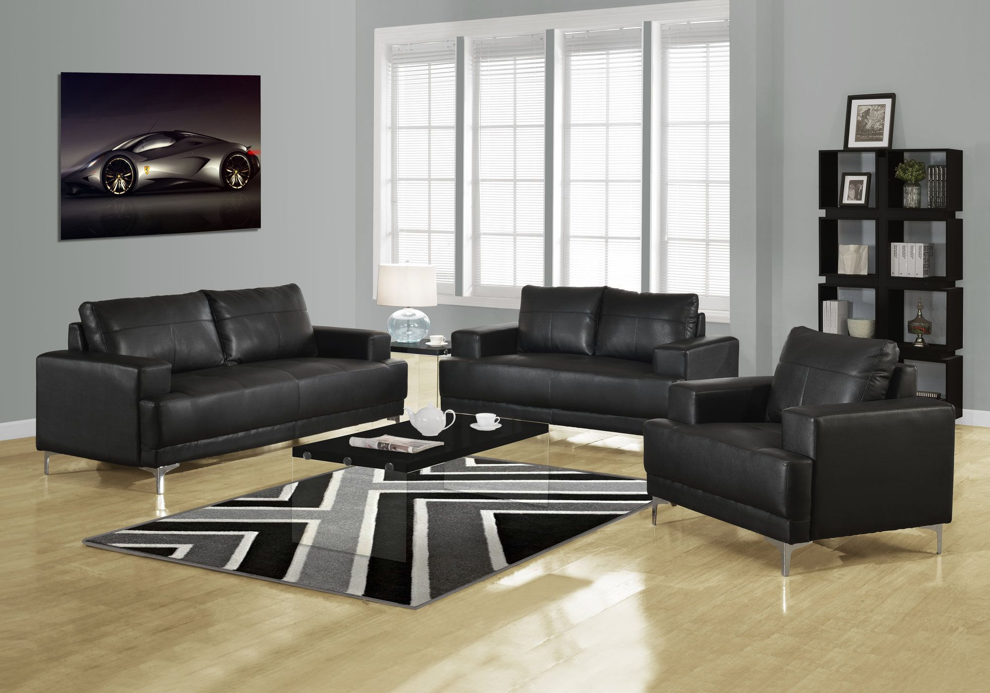 Black Bonded Leather Living Room Set
