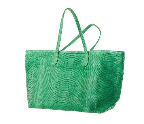 Apple Green Python Skin Tote Bag