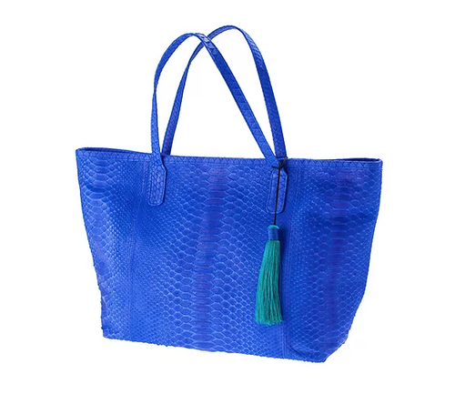 Bright Blue Python Skin Tote Bag