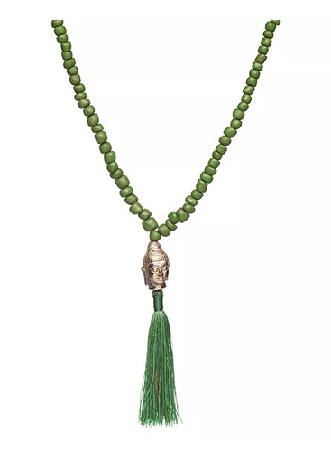 Green Buddha Tassel Necklace