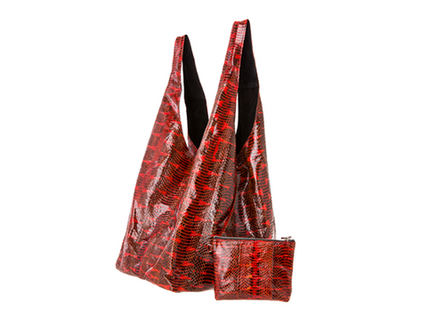 Lipstick Red Water Snake Carry-All Bag