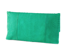 Apple Green Python Skin Clutch