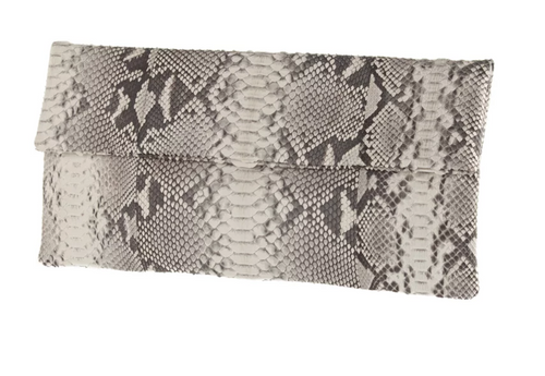 Black & White Python Skin Clutch
