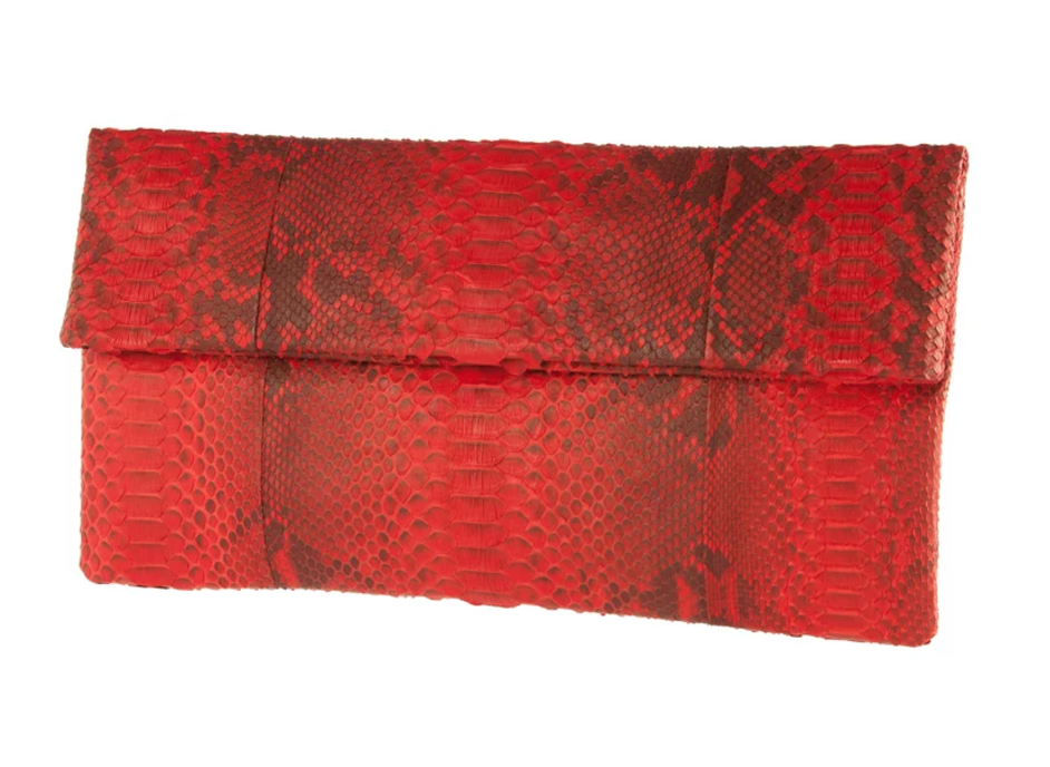 Red & Black Python Skin Clutch