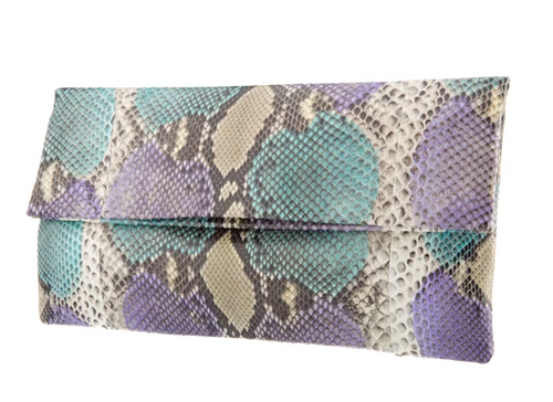 Turquoise & Lilac Python Skin Clutch