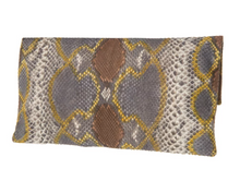 Brown & Gold Python Skin Clutch