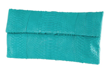Turquoise Python Skin Clutch