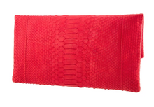 Bright Red Python Skin Clutch