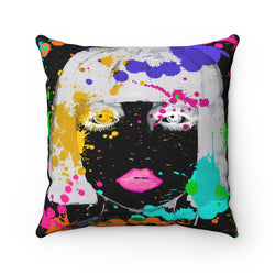 Why so Negative Square Pillow - Studio One by Jodi Pedri
