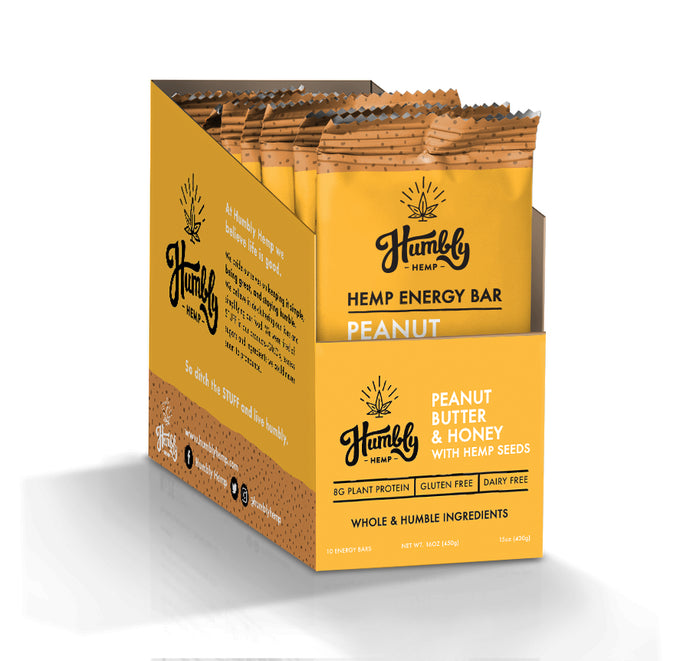 Hemp Energy Bar - Peanut Butter & Honey (10 Bar Box)