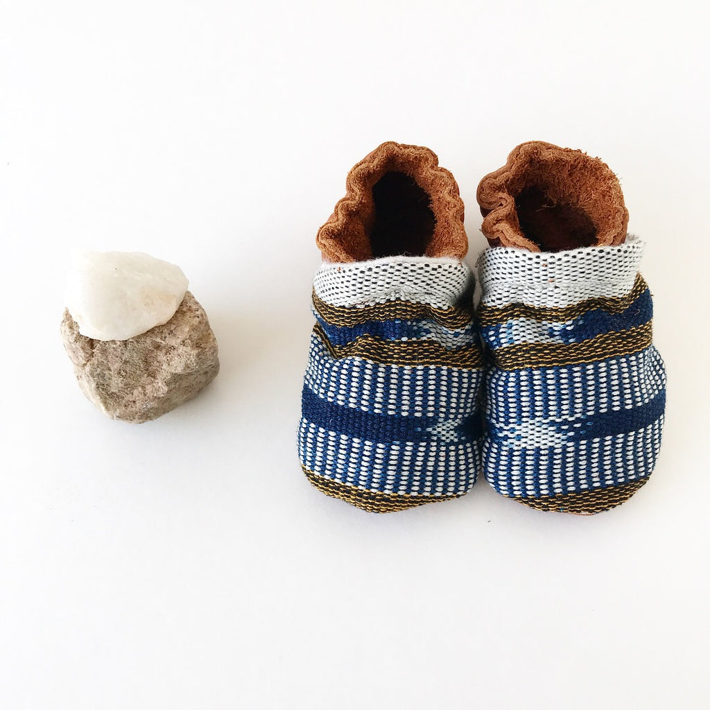 Two-Tone Mayan Moccs - Blue Top