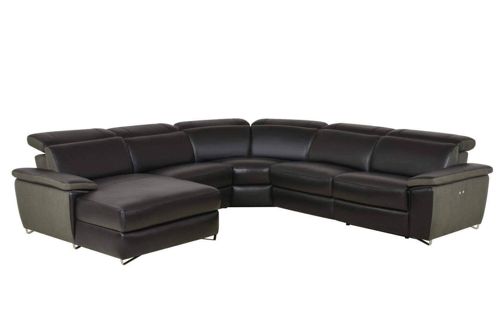 Black Aura Reclining Sectional with LAF Chaise