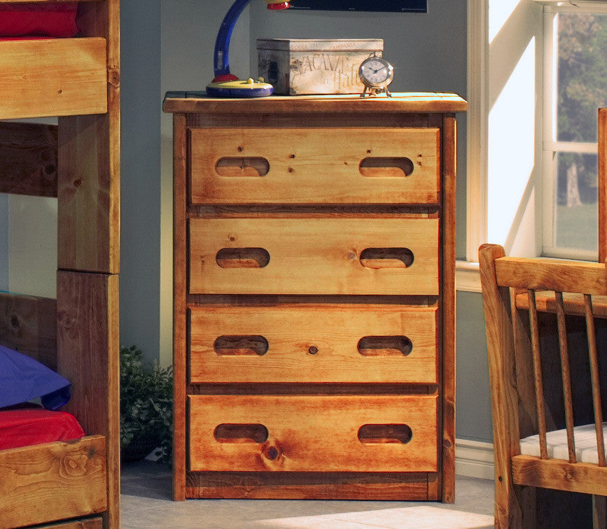 Pine 4 Drawer Chest in Amber Wash