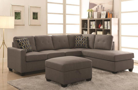 Taupe Sectional with Reversible Chaise