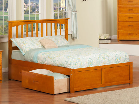 Fraser Oak Mission Platform Bed Frame with Storage Drawers