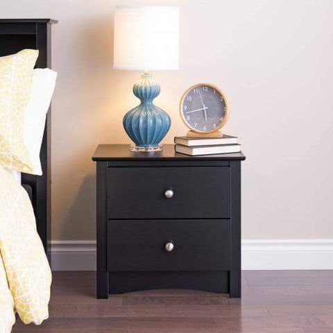 Black-Sonoma-2-Drawer-Nightstand