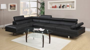 Hollywood Faux Leather Adjustable Sectional with Armless Chair and Left Facing Chaise