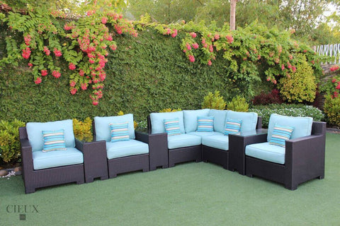 Provence L-Shaped Sectional with Three Glass Top Tables