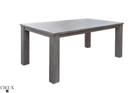 champagne weathered teak patio table