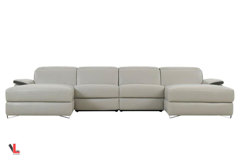 Aura Top Grain Grey Leather Large U-Shaped Sectional