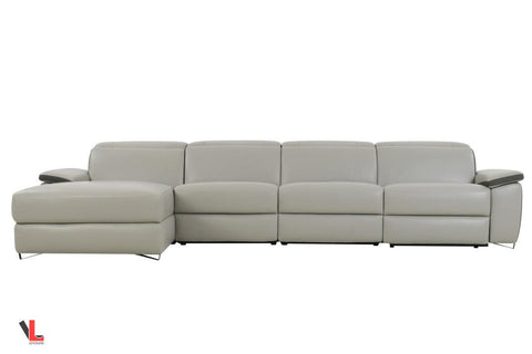 Aura Light Grey Leather Power Reclining Large Sectional with Left Facing Chaise