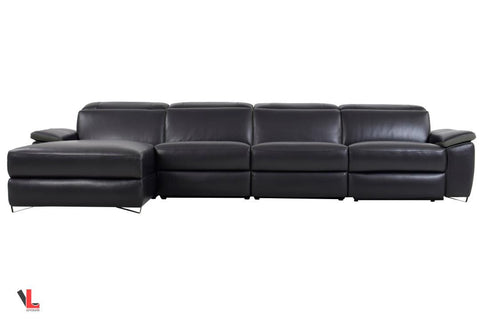 Aura Top Grain Black Leather Power Reclining Extra Large Sectional