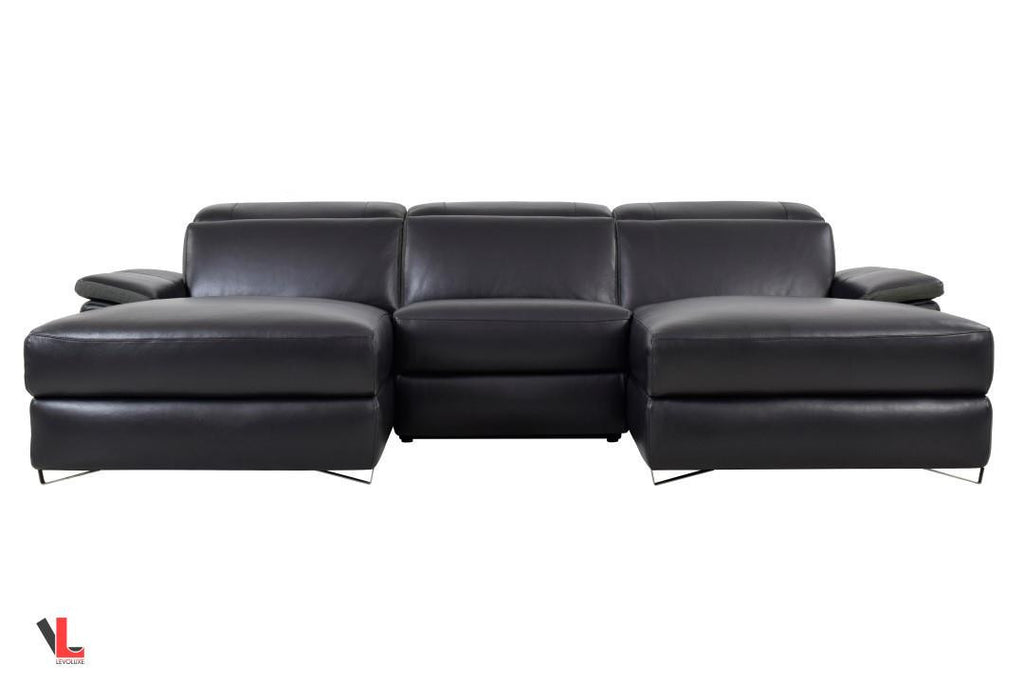 Aura Top Grain Black Leather Small U-Shaped Sectional