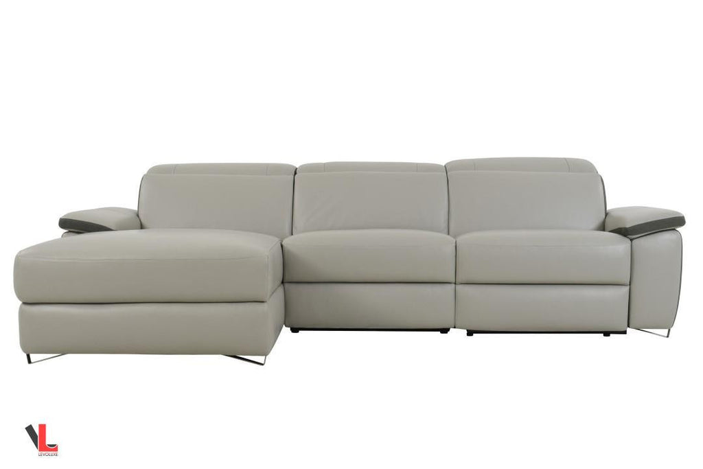 Aura Light Grey Power Reclining Medium Sectional with Left Facing Chaise