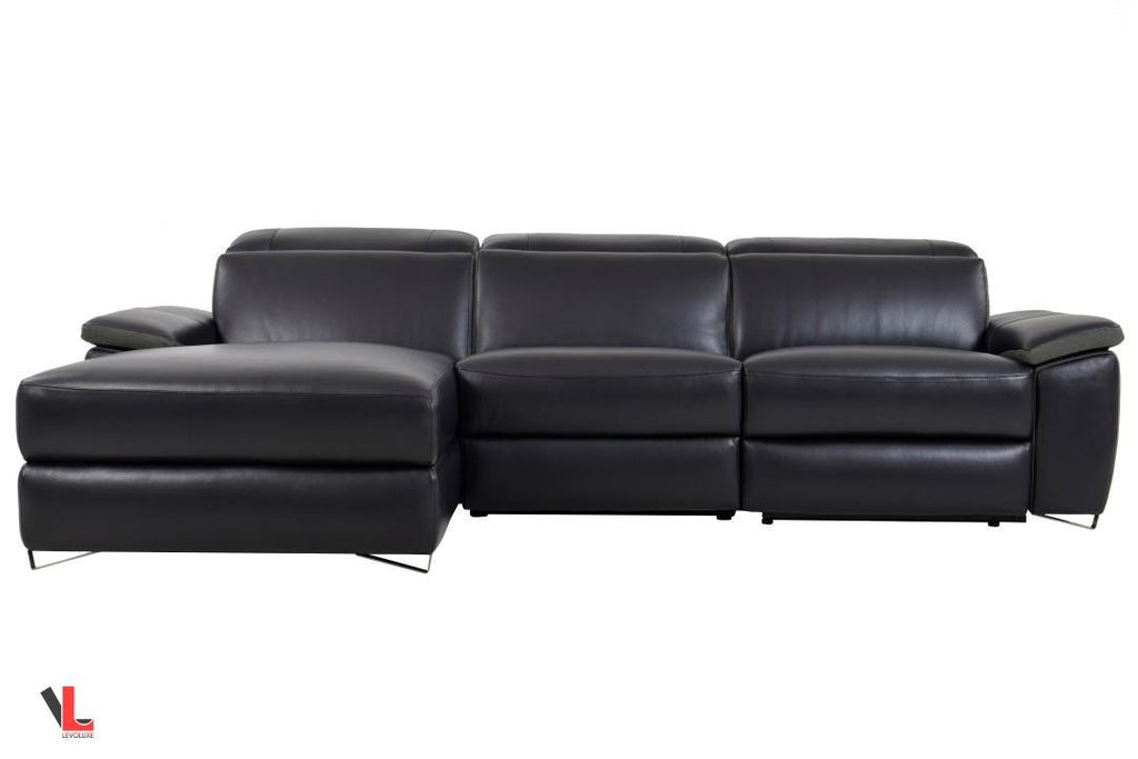 Aura Top Grain Black Leather Power Reclining Sectional with Left Chaise