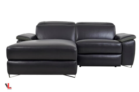 Aura Top Grain Black Leather Small Sectional with Left Facing Chaise