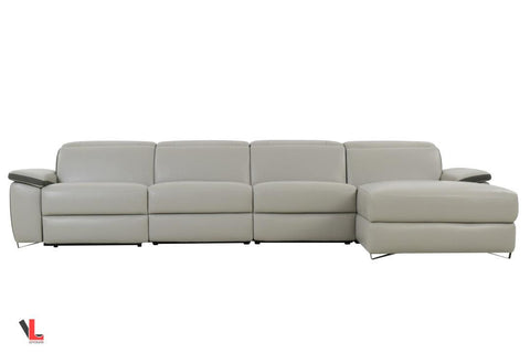 Aura Light Grey Power Reclining Large Sectional with Right Facing Chaise