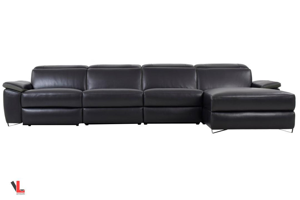 Aura Top Grain Black Leather Power Reclining Large Sectional with Right Facing Chaise