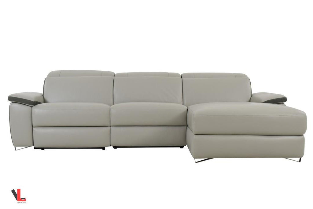Aura Light Grey Power Reclining Medium Sectional with Right Facing Chaise
