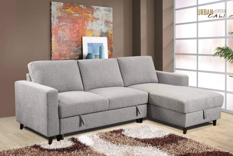 Giancarlo Sleeper Sectional Right facing Chaise Knit Grey