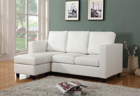Newport Cream Small Condo Apartment Sized Sectional Sofa with Left Facing Chaise by Urban Cali