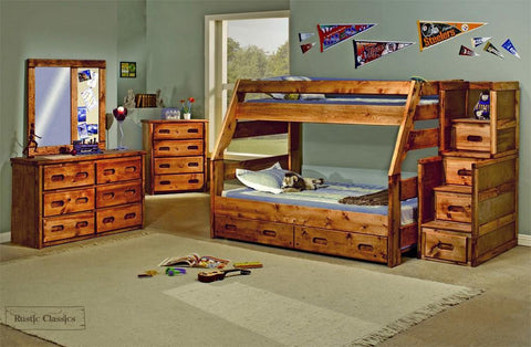 Pine Twin Over Full Bunk Bed in Amber Wash by Rustic Classics
