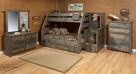 Pine Twin Over Full Bunk Bed in Rustic Grey by Rustic Classics
