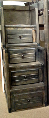 Pine Stairway Chest in Rustic Grey