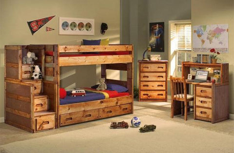 Pine Twin Over Twin Bunk Bed in Amber Wash