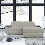 Aura Light Grey Top Grain Leather Power Reclining  Small Sectional Sofa with Right Facing Chaise by Levoluxe