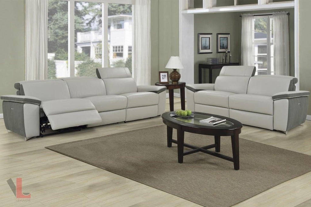 Aura Light Grey Top Grain Leather Power Reclining Sofa And Loveseat By  Levoluxe