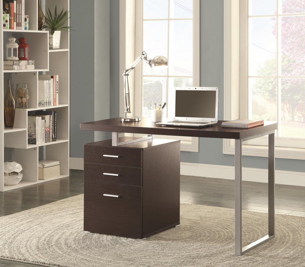 Cappuccino Reversible Writing Desk with File Drawer by True Contemporary
