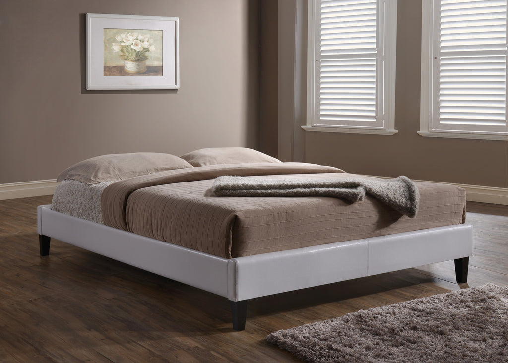 Carrington White Faux Leather Platform Bed King ONLY