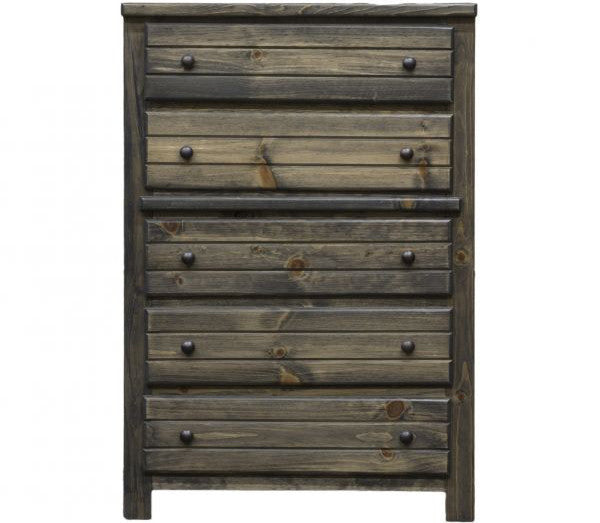 Pine 5 Drawer Chest in Rustic Grey