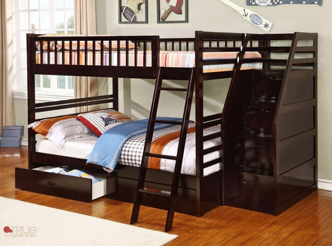 Fraser Espresso Full over Full Bunk Bed with Stairway Chest and Storage Drawers