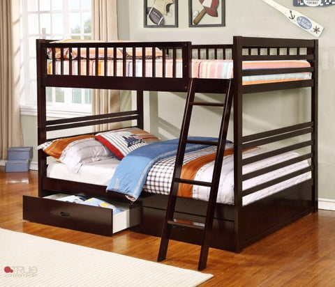 Fraser Espresso Full over Full Bunk Bed with Storage Drawers and Solid Wood
