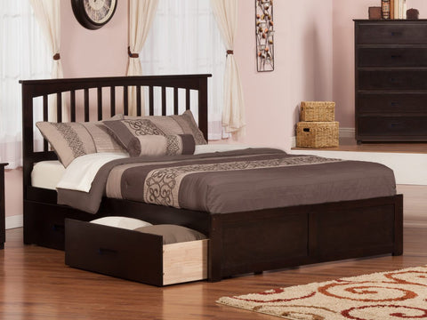 Fraser Espresso Mission Platform Bed Frame with Storage Drawers